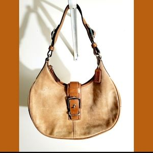 Coach Tan Suede Distressed Leather Hobo Bag